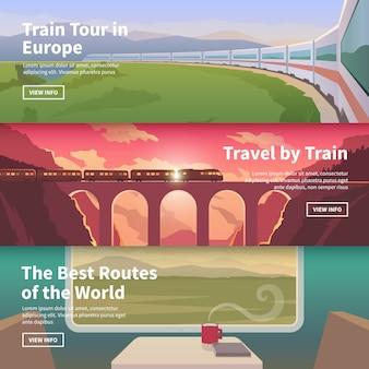 Веб-баннеры на тему путешествий на поезде