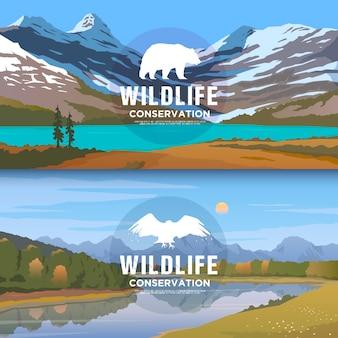 アメリカの野生動物をテーマにしたウェブバナー、野生での生存、狩猟、キャンプ、旅行。山のlamdscape。野生生物の保護。