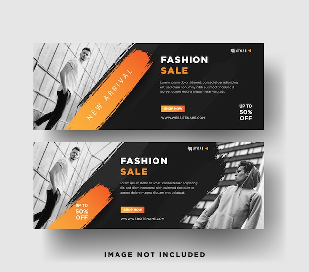 Web banners selling men's fashion with elegant, retro ,abstract, 3d grunge designs
