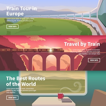 Web banners on the theme of travel by train