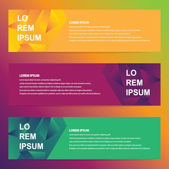 Web banners with trendy geometric design