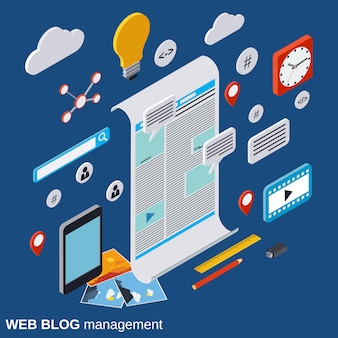 Web blog management isometric vector concept illustration