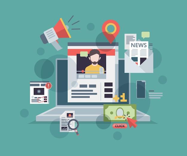 Веб-блоггинг. монитор с символами контент-маркетинга на экране продвигает концепцию стратегии управления цифровыми технологиями веб-сайта блога.