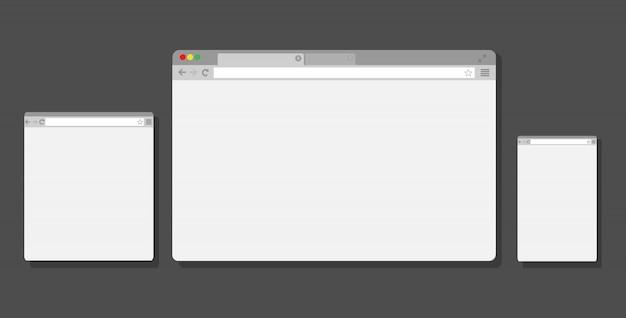 노트북, 태블릿 및 스마트 폰을위한 웹 브라우저 창. .