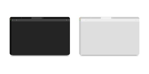 웹 브라우저 창 모형 - 어둡고 밝은 창 테마. 컴퓨터 ui 템플릿용 웹 페이지 창입니다.