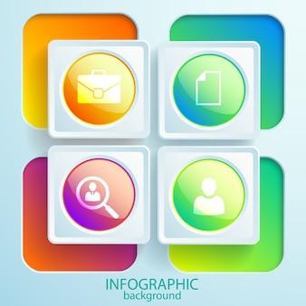光沢のあるボタンとカラフルな正方形のフレームの丸いアイコンとwebビジネスのインフォグラフィック要素