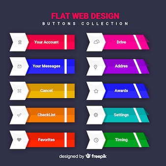 Web button collection in flat design