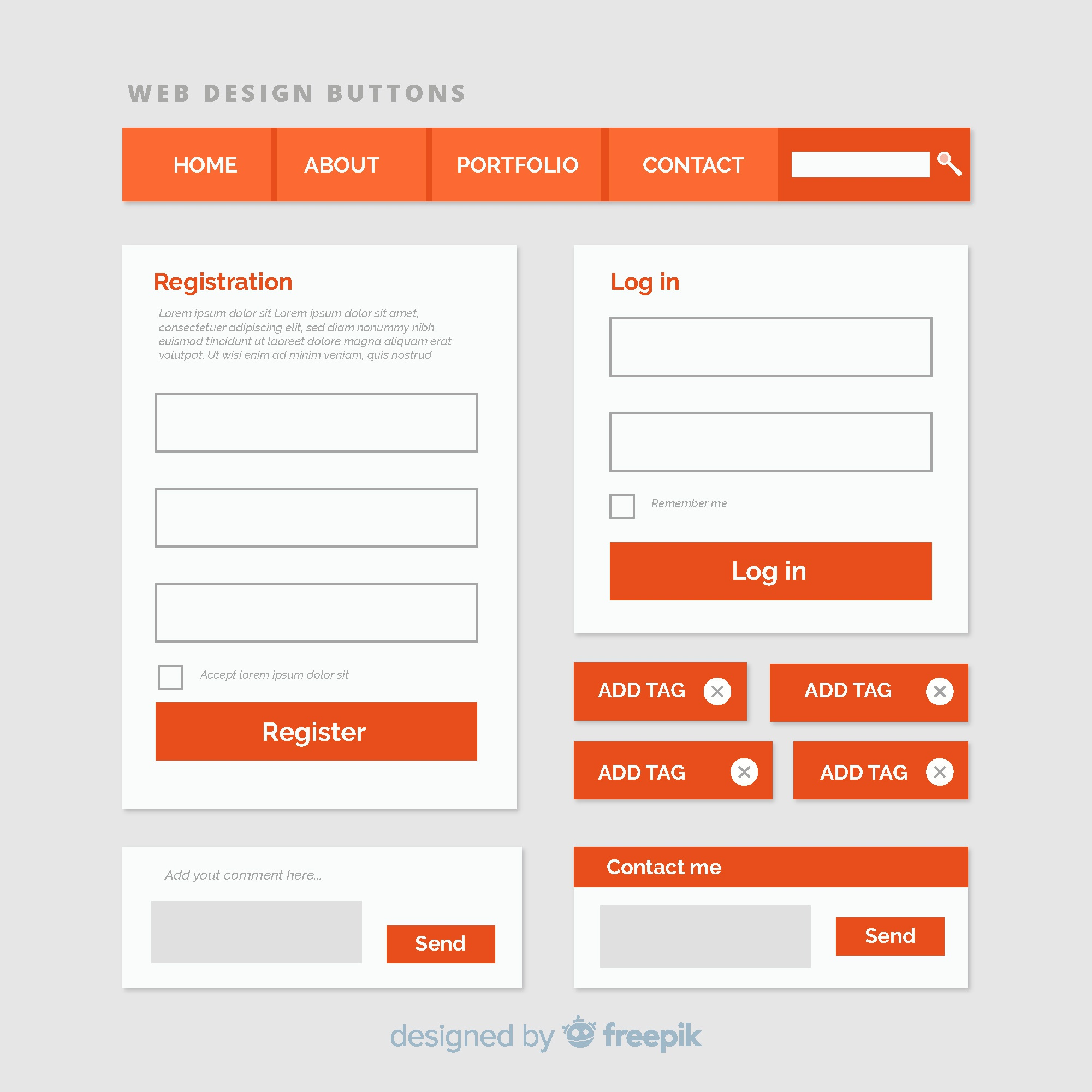 Web button collection in flat style