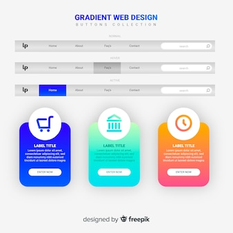 Web button collection in gradient style