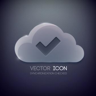 Шаблон дизайна веб-кнопки со стеклянным облаком и галочкой