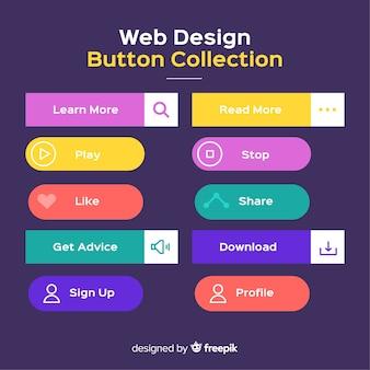 Pulsante web impostato in design piatto