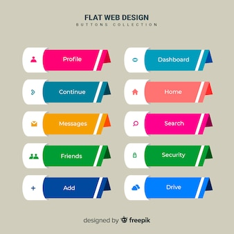 Web button set in flat design
