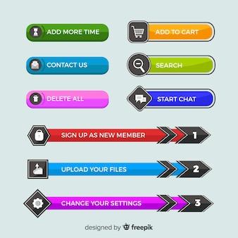 Web button set in flat design
