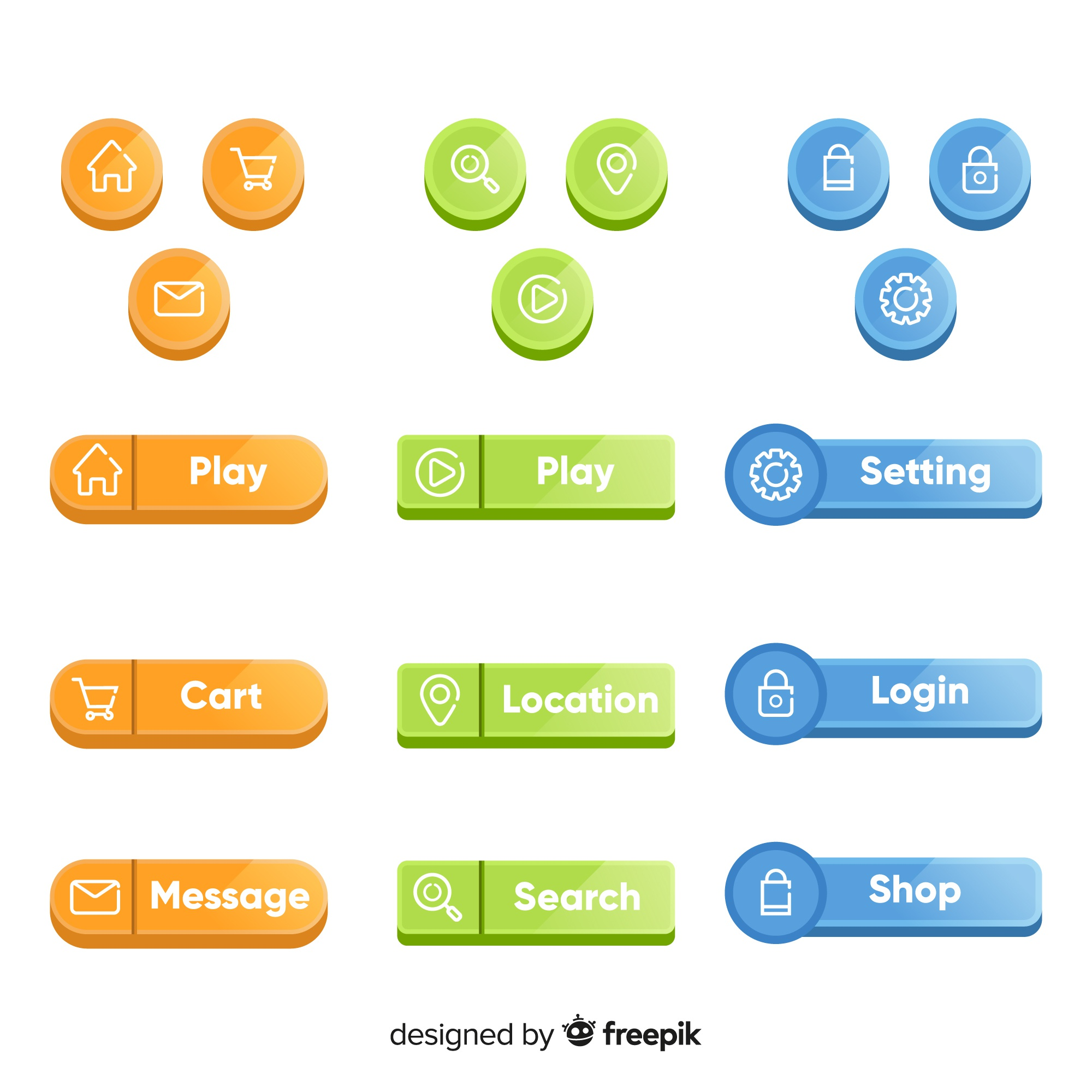 Web button set in flat style