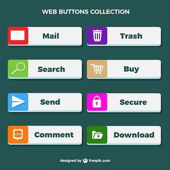 Pulsanti web insieme con le icone