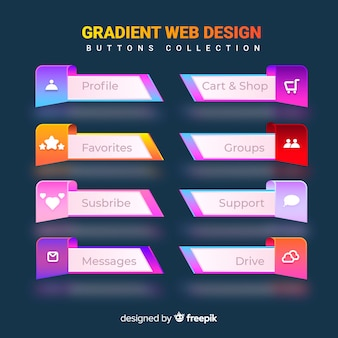 Web buttons in gradient style