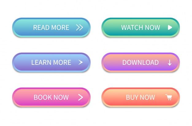 Webボタンインターフェイス。サイト用のモダンなボタン。アイコン。