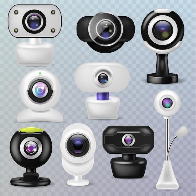 웹 카메라 웹캠 디지털 기술 인터넷 통신 장치 그림 투명 배경에 비즈니스 회의 연결 가제트 세트
