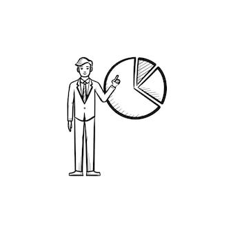 웹 회사 손으로 그린 개요 낙서 벡터 아이콘입니다. 흰색 배경에 고립 된 인쇄, 웹, 모바일 및 infographics에 대 한 모바일 회사 경제 인덱스 스케치 그림.