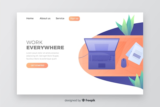 Web concept for business landing page with laptop