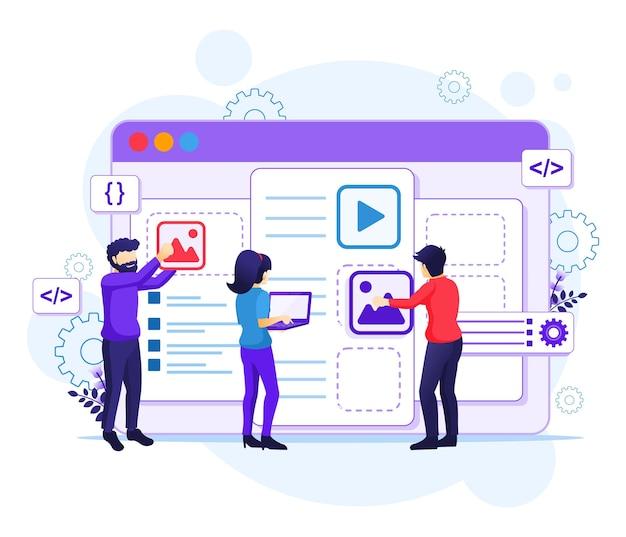 Веб-концепция, люди, создающие веб-приложение, иллюстрация контента и текста