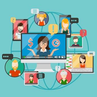 Концепция веб-конференции или онлайн-деловое общение в интернете, веб-обучение. иллюстрация
