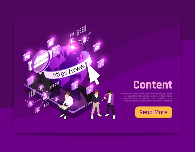 Web content isometric page with world data symbols  illustration