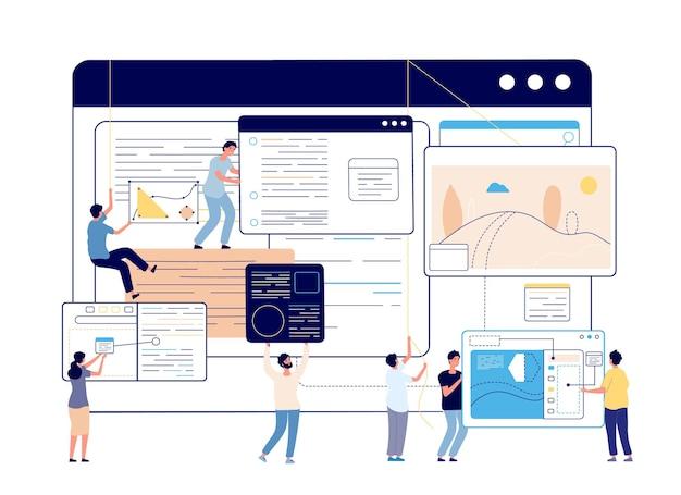 웹 콘텐츠 관리. 디지털 블로그, 소셜 미디어 디자이너 및 작가. 블로깅, 현대 교육 또는 프로그래밍 팀 벡터 일러스트 레이 션. 분석 최적화 웹사이트, 개인화 기술