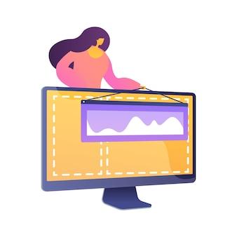 웹 디자인 및 콘텐츠 제작. 방문 페이지, 웹 사이트, 홈페이지를 만드는 디자인 요소. 여성 그래픽 디자이너, 개발자 플랫 캐릭터.
