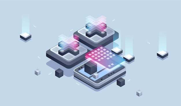 웹 디자인 및 개발. 모바일 애플리케이션 개발, 프로그래머 및 엔지니어링 아이소 메트릭 일러스트레이션.