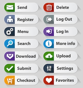 Webデザインボタンホワイトセット