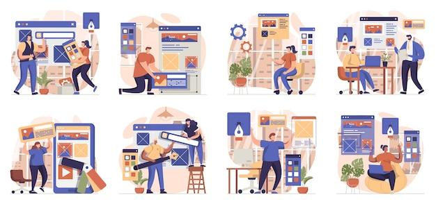 사람들이 웹 사이트 레이아웃 장소 요소를 생성하는 장면의 웹 디자인 컬렉션