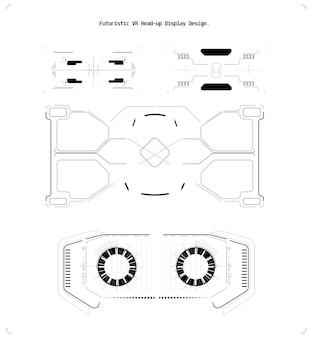 Webデザインのコンセプト。コンピュータゲームの概念。ベクトルゲームui。デジタルガジェット。ベクトルの未来のインフォグラフィックイラスト。未来のテクノロジーのヘッドアップスクリーン。