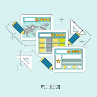 フラット細い線スタイルのウェブデザインコンセプト