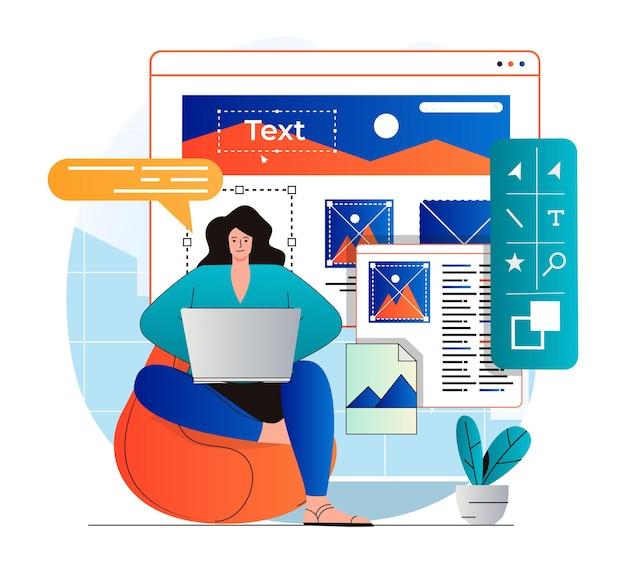 현대 평면 디자인의 웹 디자인 개념 여성 디자이너는 그래픽 요소를 만들고 최적화합니다.