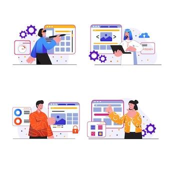웹 디자인 개념 장면은 사람들이 웹 페이지 레이아웃 디자이너를 만들고 그래픽 요소를 배치합니다.