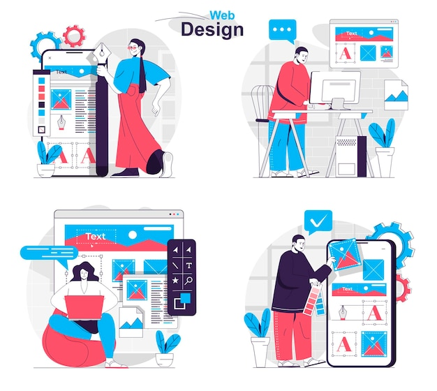 Web design concept set developers create page layout place graphics and content