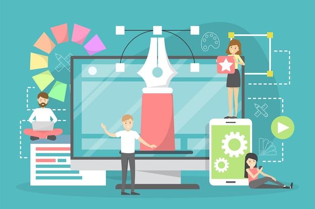 웹 디자인 개념. 웹 사이트 개발, 프로그래밍 및 반응 형 만들기