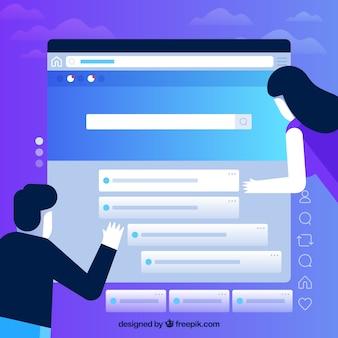 Web design concept with flat design