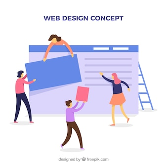 Web design concept with flat design
