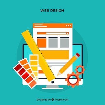 Web design concept with flat style