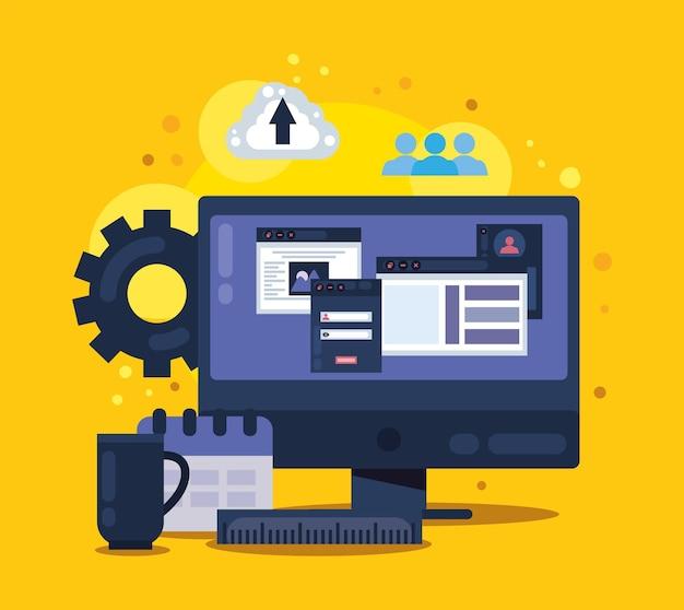 Web design in desktop scene