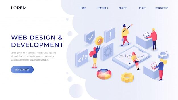 Web design and development isometric landing page