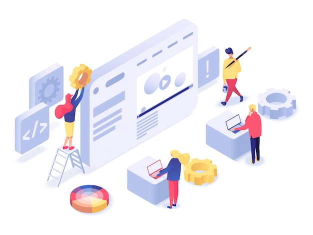 Web design and development isometric