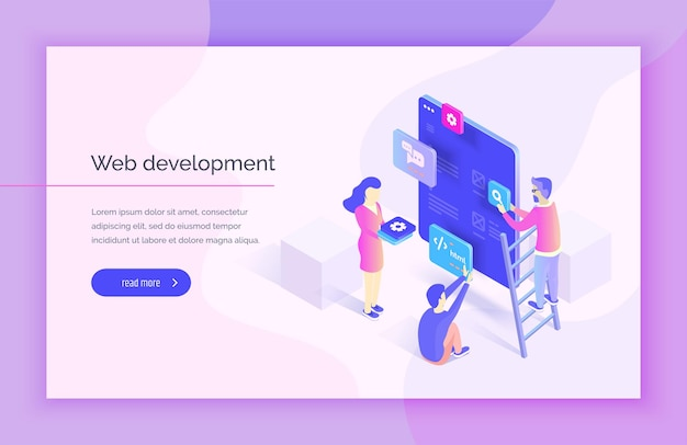 Web design development people interact with parts of the interface creating an interface for the mobile application modern vector illustration isometric style