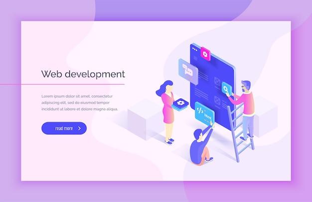 웹 디자인 개발 사람들은 인터페이스의 일부와 상호 작용하여 모바일 애플리케이션용 인터페이스를 생성합니다. 현대 벡터 일러스트레이션 아이소메트릭 스타일