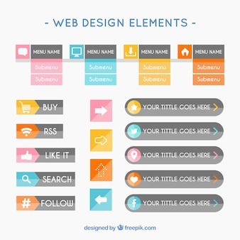 Web design elements in flat style