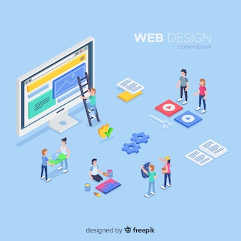 Web design elements in isometric style