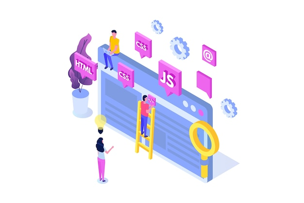 Web design and front end development isometric concept