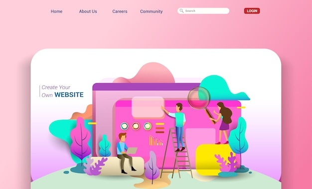 Web design homepage concept of desktop illustration. business strategy, analytics and brainstorming. modern flat design concepts for website design ui/ux and mobile website development.
